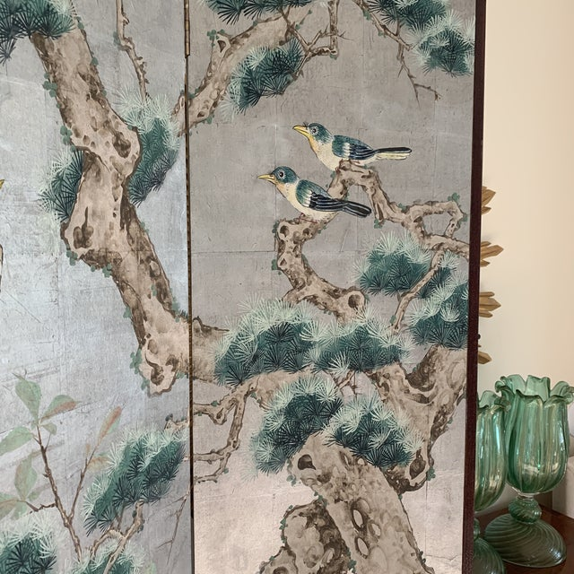 Metal Chinoiserie Eight Panel Folding Screen, Silver Leaf With Birds, Peonies and Cherry Blossoms - a Pair For Sale - Image 7 of 13