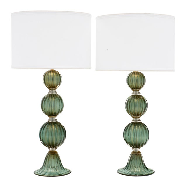 Green Avventurina Murano Glass Lamps For Sale - Image 10 of 10