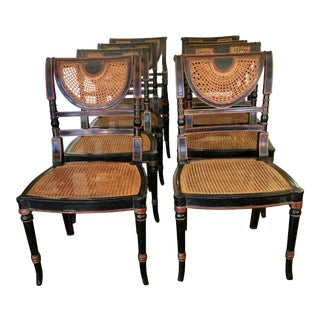 Set of 8 French Cane Dining Chairs Circa 1840 - Two Arm & Six Side Chairs For Sale