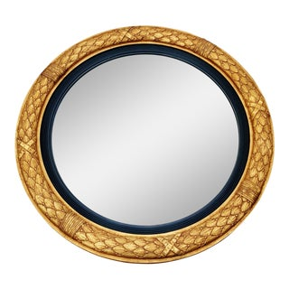 French Carved & Giltwood Convex Bullseye Mirror For Sale