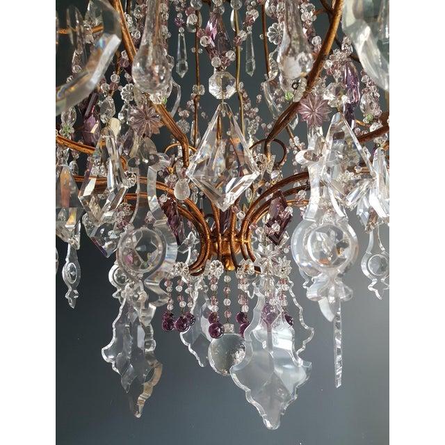 Crystal Chandelier Antique Ceiling Lamp Murano Florentiner Lustre Art Nouveau Purple For Sale - Image 9 of 11