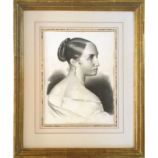 Antique French Master Drawing of a Woman, 1847 For Sale