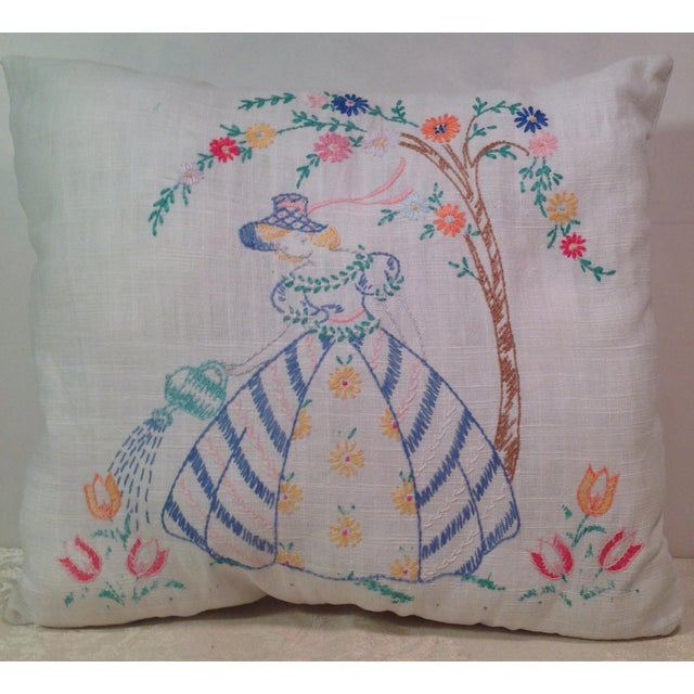 Mid-Century Modern Hand Embroidered Pillow - Image 2 of 5