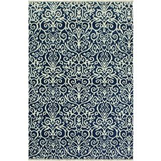 Cryena Modern Kati Blue/Ivory Wool & Viscouse Rug - 4'2 X 6'4 For Sale