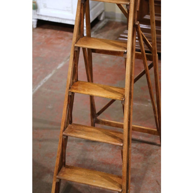 Metal 19th Century French Napoleon III Carved Walnut Folding Library Six-Step Ladder For Sale - Image 7 of 11