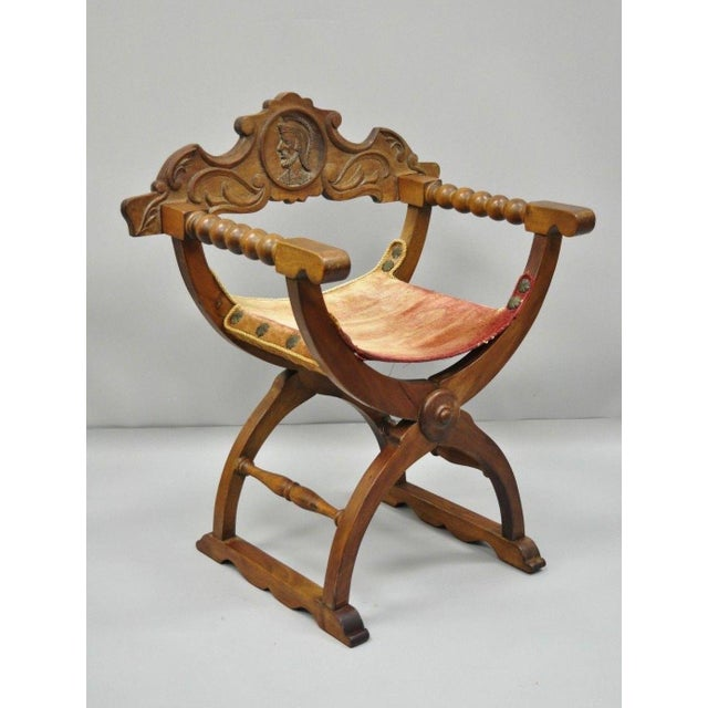 Antique Italian Renaissance Curule Savonarola Throne Chair. Item details  lift out figural carved back, - Antique Italian Renaissance Curule Savonarola Figural Throne