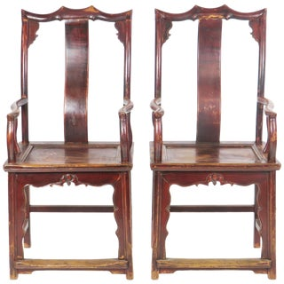 Late 19th Century Antique Chinese High Back Elm Armchairs- A Pair For Sale
