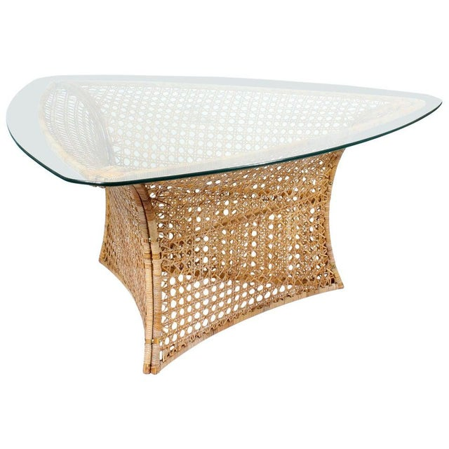 Danny Ho Fong Cane Triangular Shaped Dining Table For Sale - Image 10 of 10