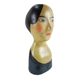 Antique French Milliner's Paper Mache Head For Sale
