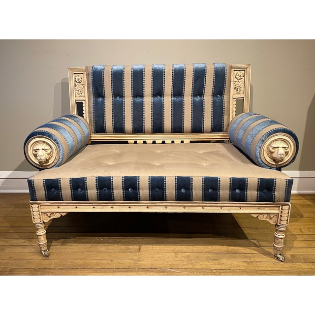 Blue 19th Century Vintage Victorian Settee For Sale - Image 8 of 8