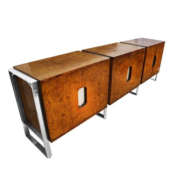 Brown Mid Century Burl Walnut Brushed Chrome Sideboard Buffet Pace Collection For Sale - Image 8 of 11