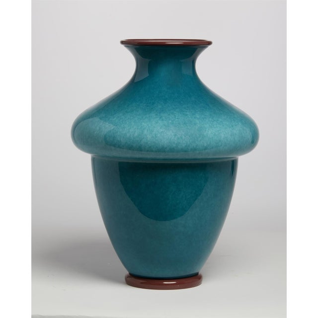 """1950's Barovier & Toso Blue Murano Italian Art Glass 16"""" Vase. In blue mottled glass with brick red base and rim."""