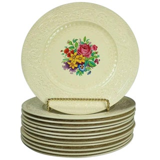 12 Antique English Royal Cauldron Embossed Porcelain Dinner Plates, Circa 1900 For Sale