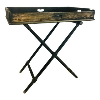 Black Painted Rustic Campaign Tray Table For Sale