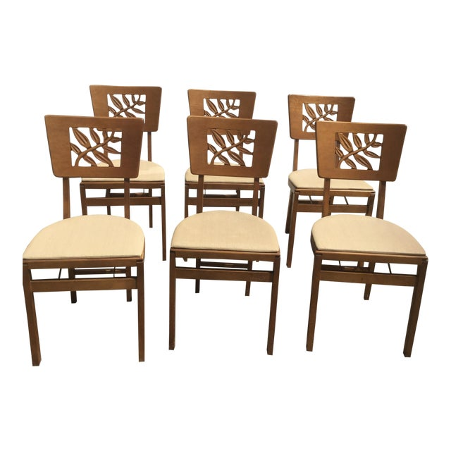 Vintage Carved Art Deco Chairs - Set of 6 For Sale