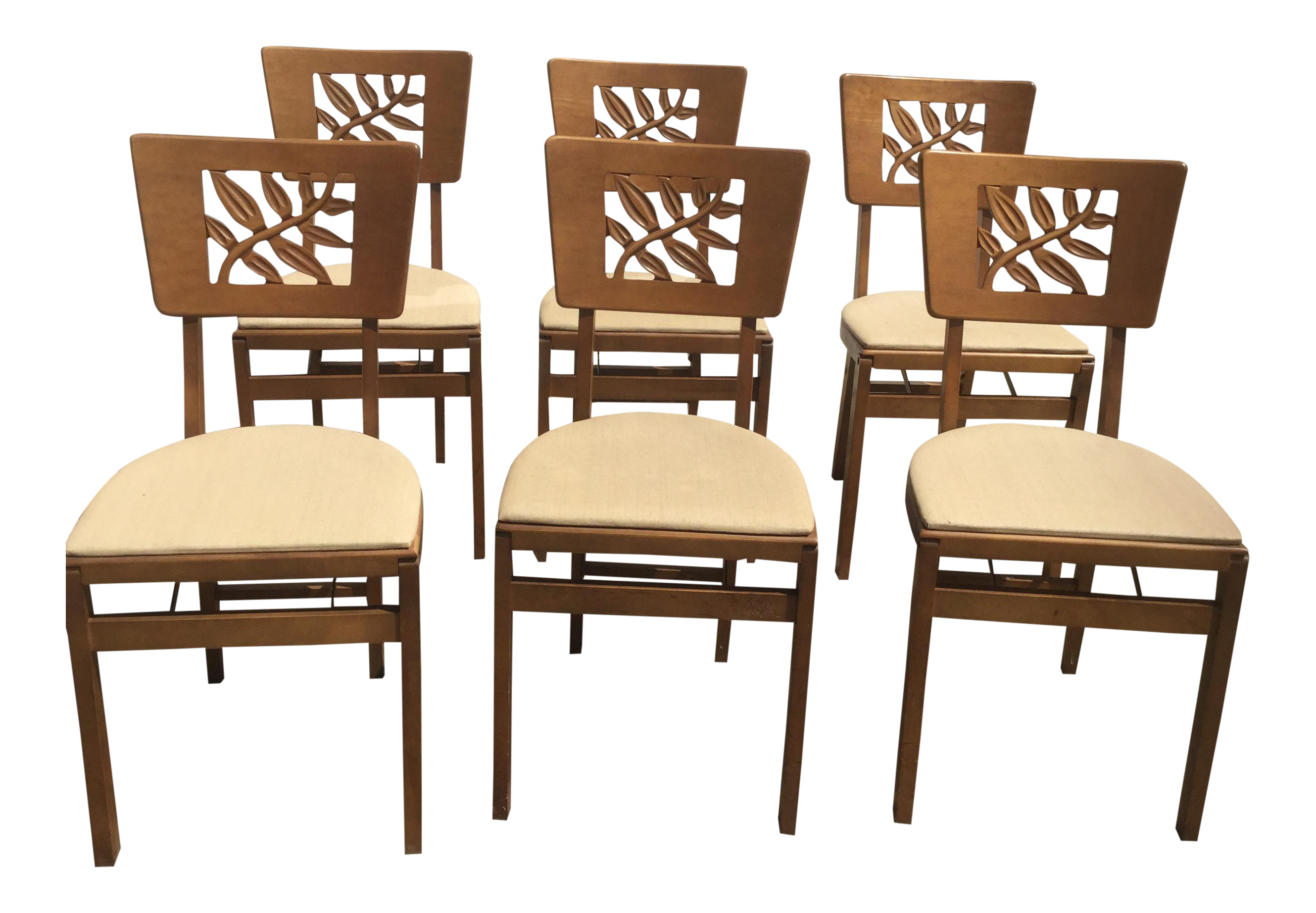 Vintage Carved Art Deco Chairs   Set Of 6
