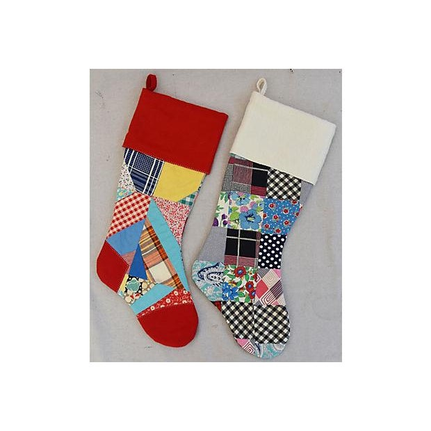 """Blue Large 22"""" Custom Tailored Patchwork Quilt Christmas Stockings - Pair For Sale - Image 8 of 8"""
