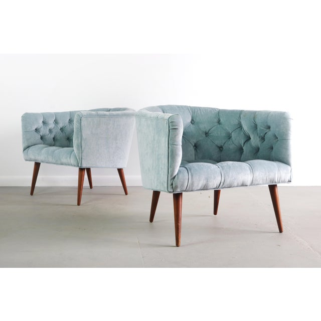 Pair of Milo Baughman for Thayer Coggin Lounge Chairs in Crushed Sky Blue What about these doesn't catch your attention?...
