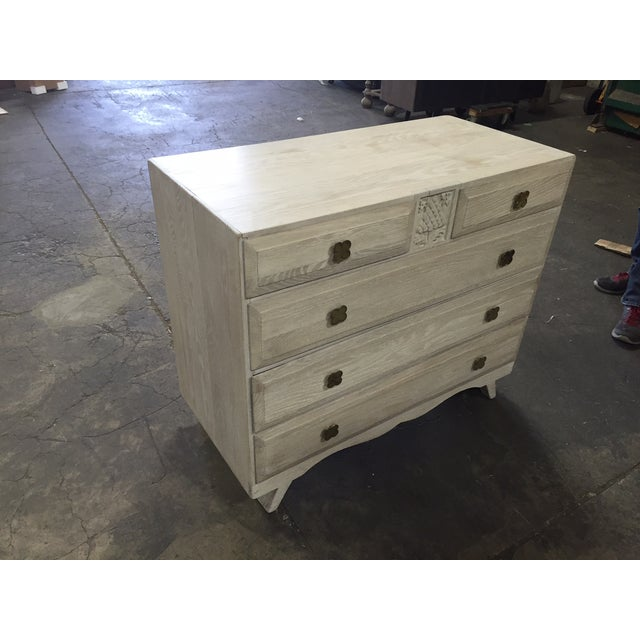English Limed Oak Chest For Sale - Image 5 of 8