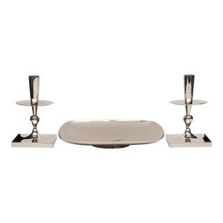 Tommi Parzinger Polished Nickel Table Garniture Set - 3 Pieces For Sale