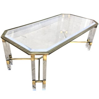 Vintage Italian Lucite and Brass Coffee Table For Sale