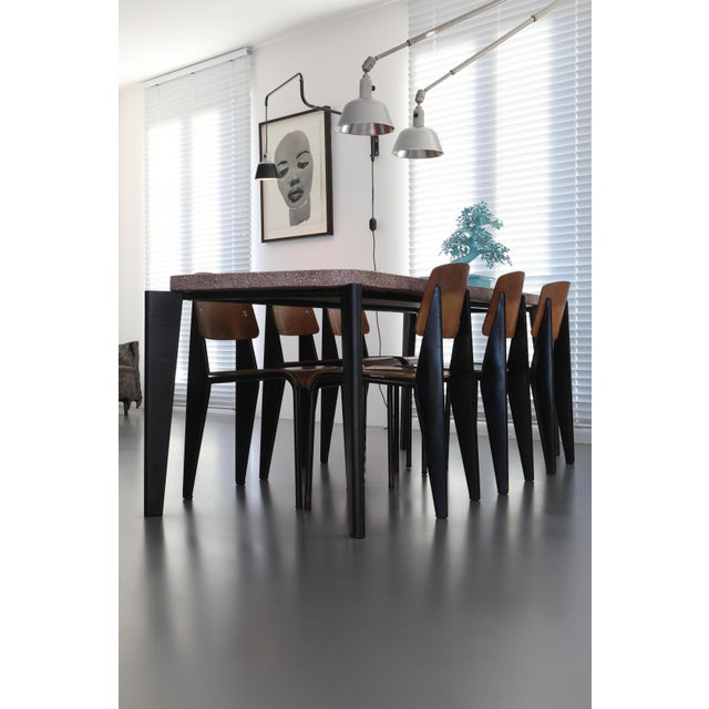 Metal Jean Prouve Dining Table and Chairs – Granito Table and 6 Metropole Chairs For Sale - Image 7 of 10