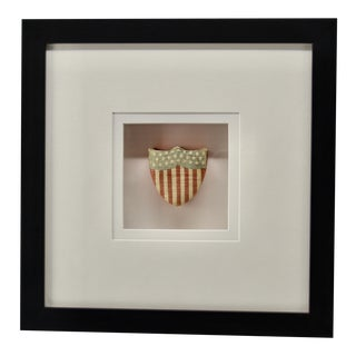 Mid 19th Century Antique Patriotic Silk Heart Candy Box, Framed For Sale