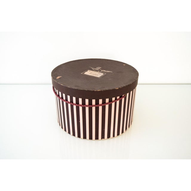 • Vintage hat box from the Woodward Shops at Hudson's Detroit department store. • Wonderful color with eggplant and pink...