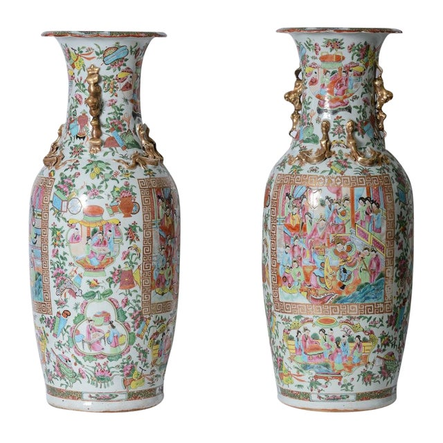 Large Rose Medallion Porcelain Vases - a Pair For Sale