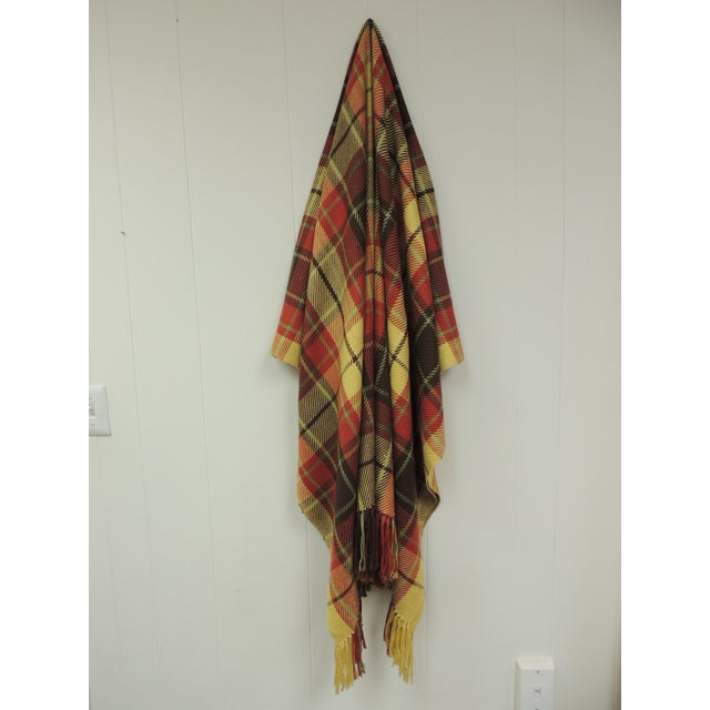 Large Yellow and Red Plaid Throw With Hand-Knotted Fringes For Sale In Miami - Image 6 of 6