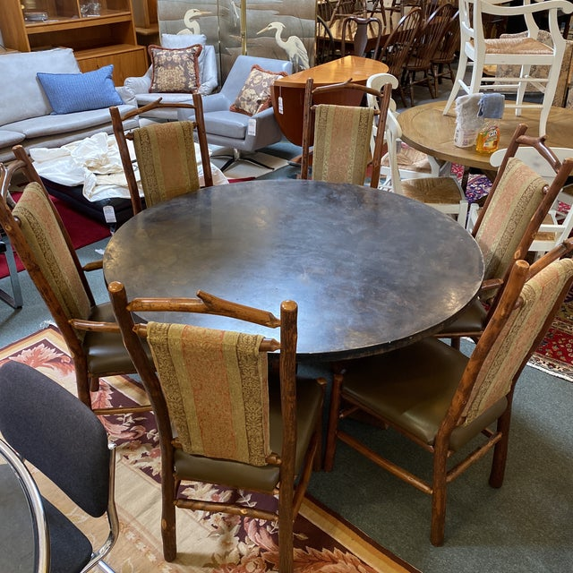 Contemporary Custom Round Cement + Teak Dining Table + Six Hickory Wood Chairs- a Set For Sale - Image 3 of 13