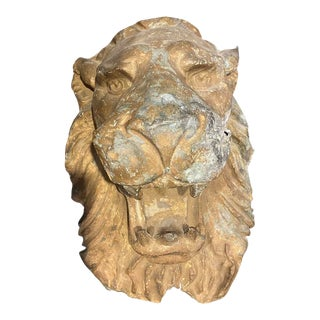 Metal Lion Head Wall Sculpture For Sale