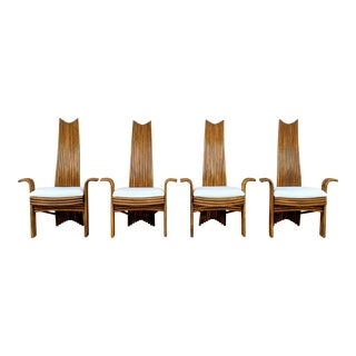 1970's McGuire High Back Rattan Dining Chairs , Signed - Set of 4 For Sale