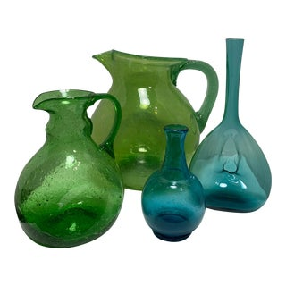Blenko Green & Blue Glass Vase & Pitchers - Set of 4 For Sale