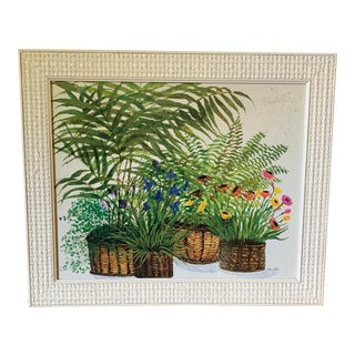 "1970's ""Primavera"" Fern Lithograph Framed Print by Ida Pellei For Sale"
