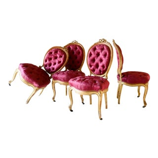 Louis XV Style Gilded Wood Salon Chairs - Set of 4 For Sale