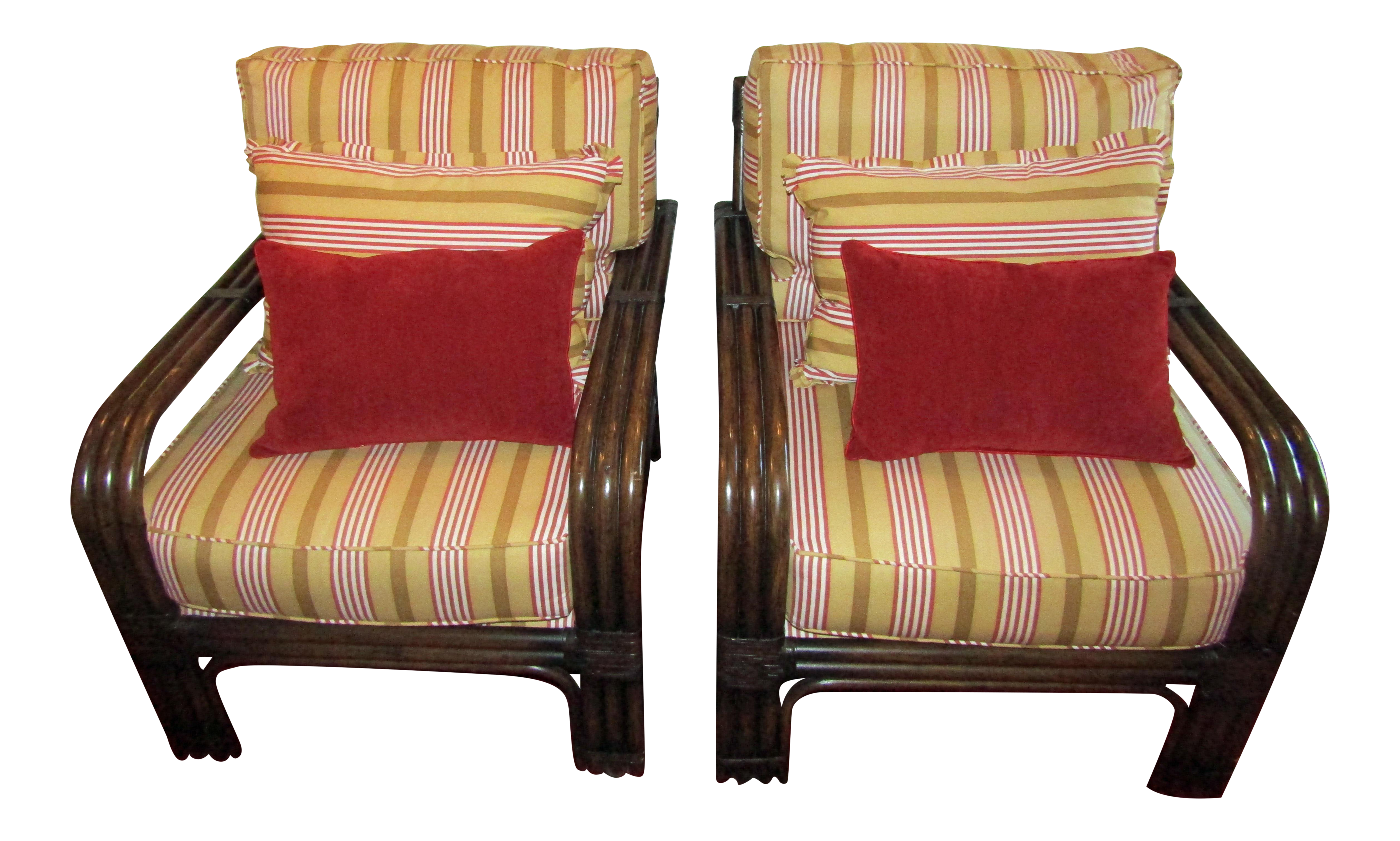 pair of pierce martin bamboo accent chairs pillows chairish rh chairish com