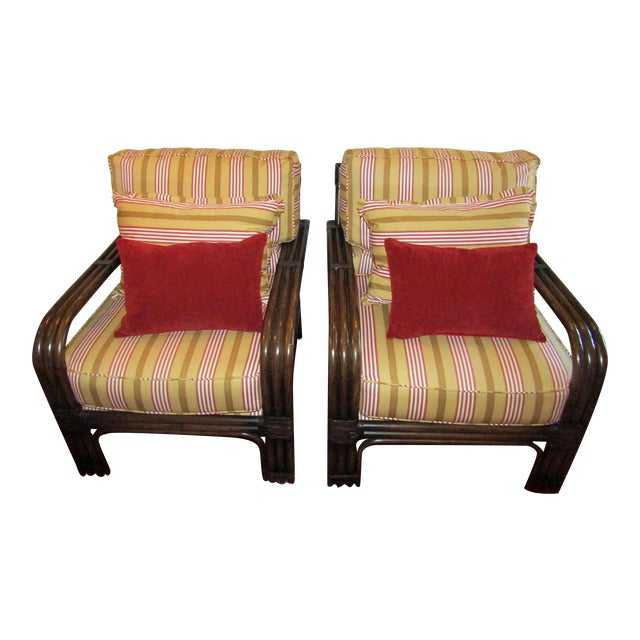 Pair of Pierce Martin Bamboo Accent Chairs & Pillows - Image 1 of 6