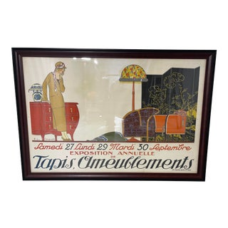 1920s French Exposition Tapis Ameublements Poster, Framed For Sale