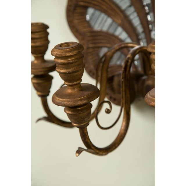 Wood Shell and Mirror Wall Sconces - Set of Four - Image 5 of 9