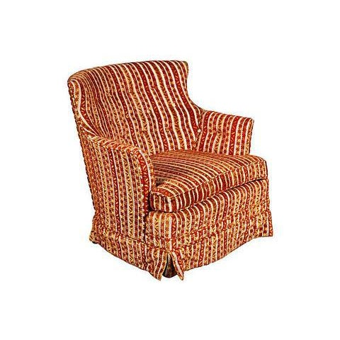 1950s Striped Fabric Lounge Chair - Image 5 of 5