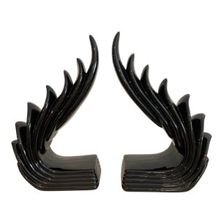 1950s Fitz and Floyd Mid-Century Art Deco Black Bookends - a Pair For Sale