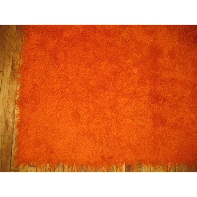Boho Chic Orange Turkish Tulu Shag Rug For Sale - Image 3 of 3