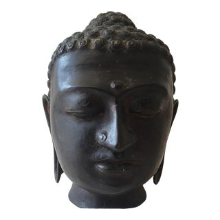 Vintage Indonesian Bronze Buddha Bust Sculpture For Sale