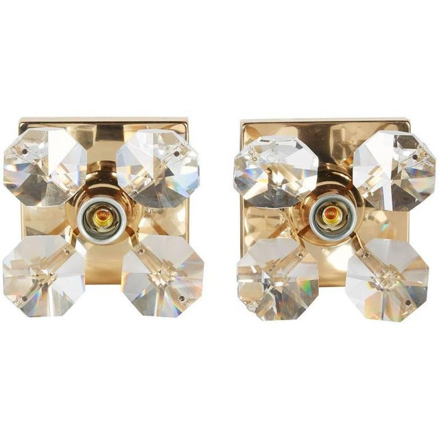 Pair of Cut Crystal and Gold Hollywood Regency Sconces by Christoph Palme For Sale - Image 12 of 13
