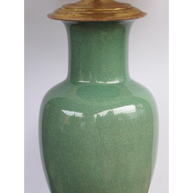 Wildwood Vintage Celadon Crackle-Glaze Lamps by Wildwood Lamp Co.-A Pair For Sale - Image 4 of 5