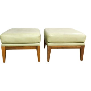 Mid Century Leather Benches in Light Chartreuse - a Pair