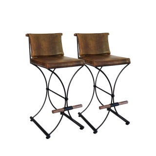 1960s Vintage Cleo Baldon for Terra Aspen Iron Campaign Barstools - a Pair For Sale
