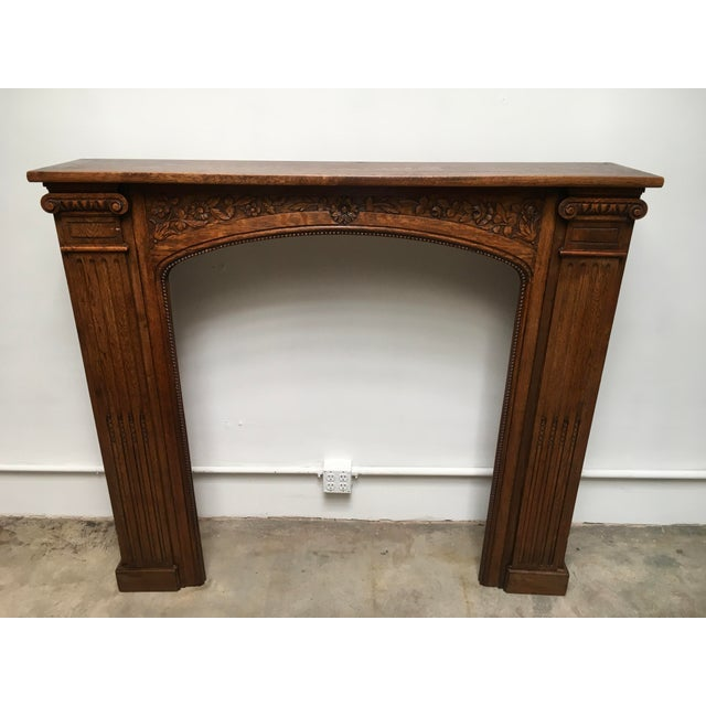Victorian Antique Hand Carved Oak Fireplace Mantle For Sale - Image 3 of 11