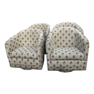 Swivel Platform Barrel Tub Chairs Armchairs - Set of 4